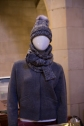Hand knit Italian merino wool – Hat $130, Sleeve Scarf $175, Bomber Sweater $550 – Alora