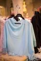 Pale aqua cashmere fringed ruana, $266 – Mr. Charles Shop